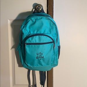 Blue/teal Life is Good backpack